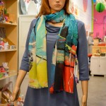 Leka Design Victoria BC Midge in blue Rachel cowl neck tunic Tall