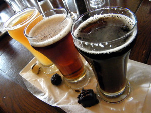 Beer flight with truffles