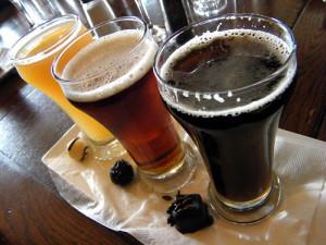 Beer flight with truffles